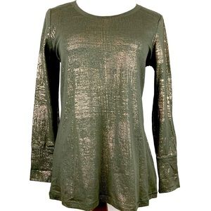 ana Long sleeve Fit & Flare Shirt Olive Green P-L